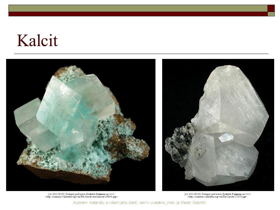 Kalcit [cit. 2011-09-20]. Dostupný pod licencí Creative Commons na www: <http://commons.wikimedia.org/wiki/File:Calcite-Aurichalcite-268040.jpg>.